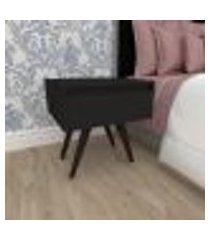 mesa de cabeceira com gaveta em mdf preto com 4 pés inclinados em madeira maciça cor tabaco