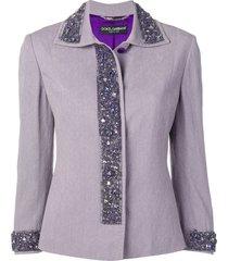 dolce & gabbana pre-owned bead-embellished jacket - purple