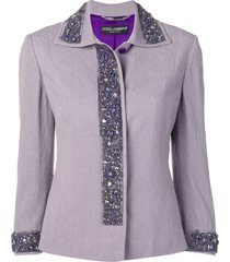 dolce & gabbana pre-owned bead-embellished jacket - purple