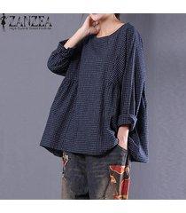 zanzea de manga larga con cuello redondo de la tela escocesa del suéter camisa señoras del otoño del algodón de lino libre del tartán negro blusa azul azul superior de gran tamaño -azul