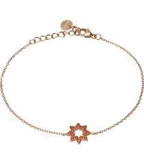 bracciale sole in argento rosato e zirconi arancioni per donna