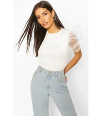 organza sleeve top, white