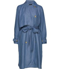 slnuna trenchcoat trenchcoat lange jas blauw soaked in luxury