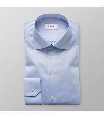 eton heren overhemd licht signature twill slim fit blauw