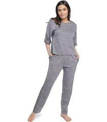 pijama feminino manga 3/4 com bolso cinza stone - cinza - feminino - algodã£o - dafiti