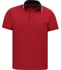 camiseta tipo polo roja hamer bolsillo bordado