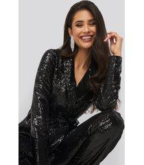 na-kd party sequin belted blazer - black