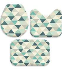 jogo tapetes love decor para banheiro triã¢ngulos verdes ãšnico - verde - dafiti