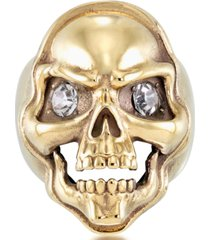 andrew charles by andy hilfiger men's cubic zirconia skull ring in yellow ion-plated stainless steel
