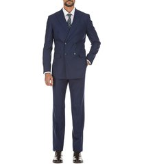 english laundry men's slim-fit windowpane double-breasted wool suit - blue - size 46 r