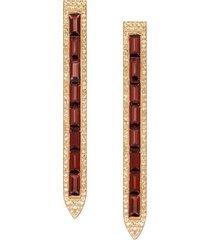 rose gold pavz diamond garnet earrings