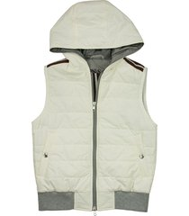 brunello cucinelli water-resistant nylon down vest with hood and thindown® padding