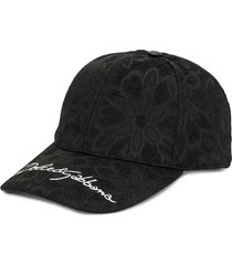 dolce & gabbana jacquard floral pattern cap - black