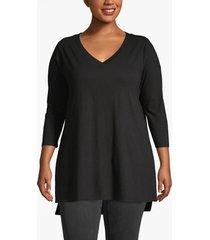 lane bryant women's 3/4-sleeve high-low tunic 22/24 black