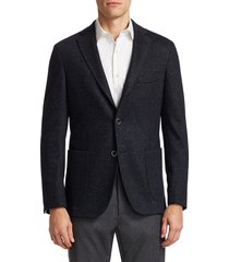 saks fifth avenue men's collection donegal tweed jacket - navy - size 42 r