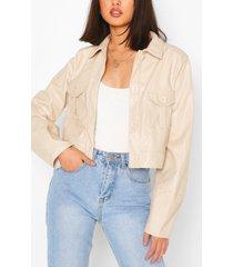 pu pocket front boxy jacket, stone