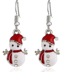 sweet ear drop earrings red christmas snowman orecchini con strass gioielli carini per le donne