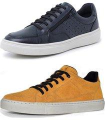 kit 2 sapatenis sandalo soft preto e basic mostarda