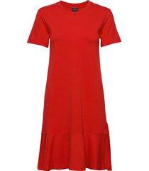 d1. flounce detail jersey dress knälång klänning röd gant