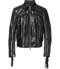 new black fringe leather biker jacket, men fashion highway trendy classic jacket