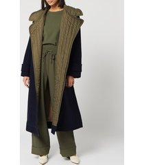 ganni women's tech/wool trench coat - sky captain - m/l