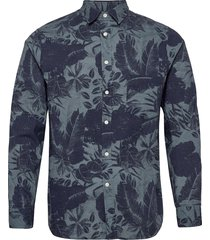 seasonal print reg fit shirt overhemd casual blauw j. lindeberg
