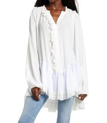 women's free people jeanette lace trim tunic, size x-small - ivory
