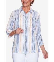 alfred dunner women's missy lazy daisy dobby stripe shirt