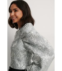 na-kd party jacquard metallic blouse - silver