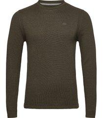 pullover stickad tröja m. rund krage grön blend