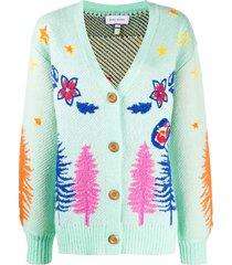 mira mikati western jacquard embroidered cardigan - green