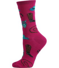 women's western theme bamboo blend crew socks