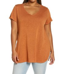 plus size women's treasure & bond relaxed tunic top, size 3x - brown