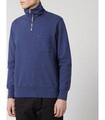 universal works men's half zip sweatshirt - navy - l