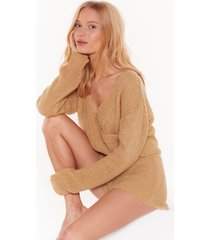 womens dusk chill dawn knitted wrap sweater and shorts set - camel