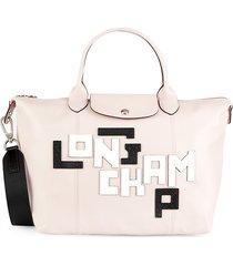longchamp women's logo patch leather satchel - pale pink