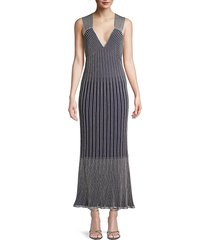 m missoni women's striped knit maxi dress - navy silver - size 38 (2)