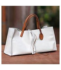 leather handbag, 'white sophistication' (indonesia)