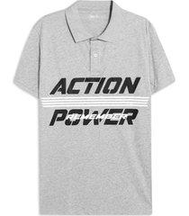 polo hombre action power color gris, talla l
