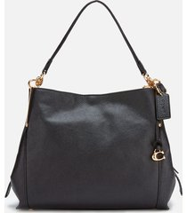 coach women's polished pebble leather dalton 28 shoulder bag - black