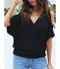 yoins black v-neck half sleeves cold shoulder tee