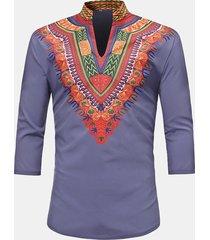 magliette casuali del manicotto 3/4 del collare stampato del basamento di 3d di stile etnico africano degli uomini