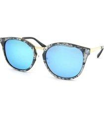óculos de sol bijoulux marmorizado lente espelhada azul