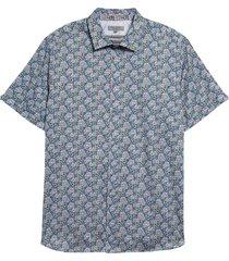 men's ted baker london birsho floral print short sleeve button-up shirt, size 3 - blue