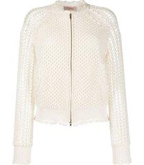 twin-set jaqueta bomber de crochê - branco