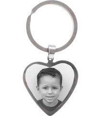 chaveiro coração personalizado com foto gravada em aço inox