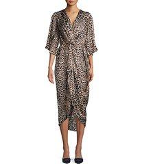cheetah-print midi dress