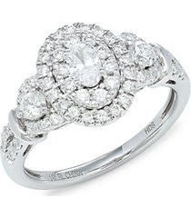 14k white gold & diamond oval ring