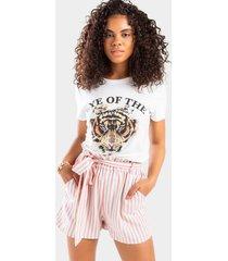 paityn stripe paperbag shorts - pink