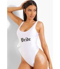 bride badpak met lage ronde hals, white